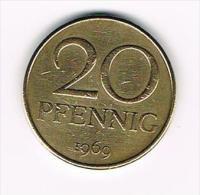 ¨ D.D.R. 20 PFENNIG  1969 - [ 6] 1949-1990 : GDR - German Dem. Rep.