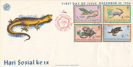 DC-163 INDONESIA - FDC 1966 - SEVERAL REPTILES SNAKES - Reptiles & Amphibians