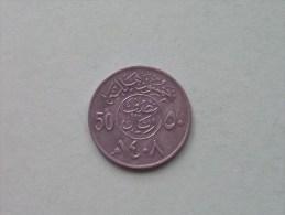1408 / 1987 - 50 Halala / KM 64 ( Uncleaned - For Grade, Please See Photo ) ! - Saudi Arabia