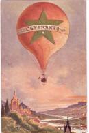 Ballon ESPERANTO über Hügeliger Flußlandschaft Signiert HK Col Posta Karto Universa Ungelaufen - Esperanto