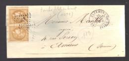FRANCE N° 43 Paire (touchée) Obl. S/lettre GC 1051 Clermont De L'Oise - 1870 Bordeaux Printing