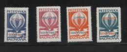 POLAND 1961 BALLOON POST STAMPS SET OF 4 NHM WARSZAWA POZNAN SYRENA KATOWICE BALLOONS FLIGHT TRANSPORT - 1944-.... Republic