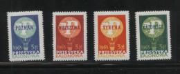 POLAND 1963 BALLOON POST STAMPS SET OF 4 NHM KATOWICE POZNAN SYRENA WARSZAWA BALLOONS FLIGHT TRANSPORT - Cinderellas
