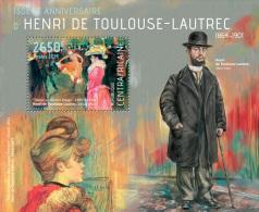 ca14119b Central African 2014 Painting Henri de Toulouse-Lautrec s/s