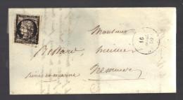 FRANCE 1850 N° 3 Obl. S/  Lettre De Beaune - 1849-1850 Cérès