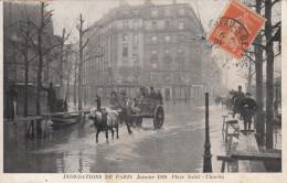 75 PARIS  INONDATIONS DE PARIS JANVIER 1910  PLACE SAINT CHARLES - Inondations De 1910