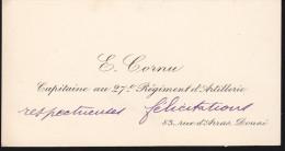 E. Cornu - Capitaine Au 27e Régiment D'artillerie - Autographes