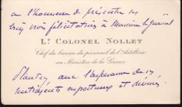 Lieutenant Colonel Nollet - Chef Du Bureau Du Personnel De L'artillerie Au Ministere De La Guerre - Autographes