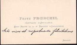 Fritz Proeschel - Capitaine D'artillerie - état Major De La 6e Brigade D'infanterie - Autographes