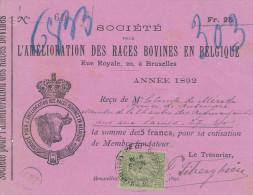 BELGIQUE - Document Financier Via Poste Belge 1892 - Illustration TAUREAU Société Des Races Bovines à Bruxelles -- VV441 - Hoftiere