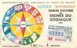 BILLET DE LOTERIE NATIONALE 1979 CONFEDERATION DES DEBITANTS DE TABAC SIGNES DU ZODIAQUE GEMEAUX - Billets De Loterie