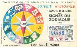 BILLET DE LOTERIE NATIONALE 1979 SIGNES DU ZODIAQUE VERSEAU - Billets De Loterie