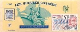 BILLET DE LOTERIE NATIONALE 1968 LES GUEULES CASSEES - Lottery Tickets