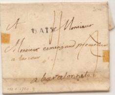Lettre Du 10/01/1750 - Griffe Linéaire D'AIX 20X5 Taxe Manuscrite Adressée à Barcelonnette - RARE - 1701-1800: Voorlopers XVIII