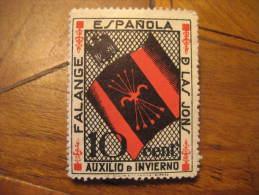 FALANGE JONS Auxilio De Invierno Flag Eagle Poster Stamp Label Vignette Viñeta España Guerra Civil War Spa - Vignette Della Guerra Civile