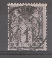 Type SAGE, 1 C Noir , Yvert N° 83 Obl Cachet à Date De BAR Sur AUBE, Du 13 Avril 1892, TB - 1876-1898 Sage (Type II)