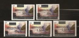 Azerbaidjan Azarbaycan  1992 N° 78 / 82 ** Indépendance, Mer Caspienne, Courant, Surchargé, Soleil, Rocher - Azerbaïjan