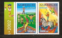 Azerbaidjan Azarbaycan  2002 N° 431a / 2a ** Cirque, Musique, Funambule, Equilibrisme, Jongleur, Cheval, Haltérophilie - Azerbaïjan