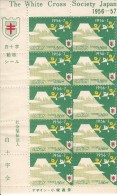Japan 1956 Antituberculosis Seals Full Sheet Of 10 Birds Flying Over Mountain - White Cross Society Of Japan - Erinnophilie