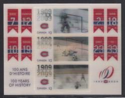 Canada MNH Scott #2340 Souvenir Sheet Of 3 $3 500th Goals Of Richard, Beliveau, LaFleur - Montreal Canadiens Centenary - 1952-.... Reinado De Elizabeth II