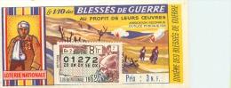BILLET DE LOTERIE NATIONALE 1962 LES BLESSES DE GUERRE - Billets De Loterie