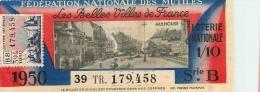 BILLET DE LOTERIE NATIONALE 1950 FEDERATION NATIONALE DES MUTILES - Billets De Loterie