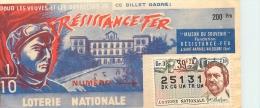 BILLET DE LOTERIE NATIONALE 1959 RESISTANCE FER - Billets De Loterie