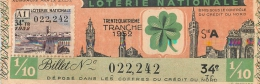 BILLET DE LOTERIE NATIONALE 1952  34E TRANCHE - Billets De Loterie