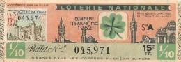 BILLET DE LOTERIE NATIONALE 1952  15E TRANCHE - Billets De Loterie
