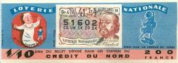 BILLET DE LOTERIE NATIONALE 1959 41E TRANCHE CREDIT DU NORD - Lottery Tickets