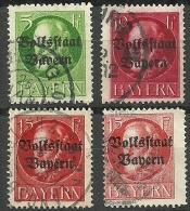 Deutsches Reich Bayern Bavaria 1919/1920 König Ludwig III Michel 117 & 119 & 120 (Friedensdruck + Kriegsdruck) O - Bayern