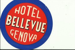 HOTEL LABEL   ---   GENOVA,   ITALIA    --   HOTEL BELLEVUE - Hotelaufkleber