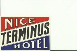 HOTEL LABEL   ---    NICE,  FRANCE    --   HOTEL TERMINUS - Hotelaufkleber