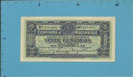 MOZAMBIQUE - 20 CENTAVOS - 25.11.1933 - Pick R29 - UNC. - PAGO 5.11.1942 - COMPANHIA DE MOÇAMBIQUE - PORTUGAL - Mozambique