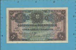 MOZAMBIQUE - 5 LIBRAS ESTERLINAS - 15.01.1934 - P R32 - UNC - CANCELADO - COMPANHIA DE MOÇAMBIQUE - Mozambique