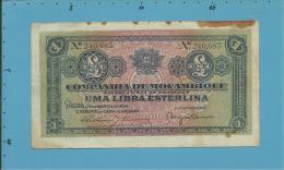 MOZAMBIQUE - 1 LIBRA ESTERLINA - 15.03.1934 - Pick R31- PAGO 5.11.1942 - COMPANHIA DE MOÇAMBIQUE - PORTUGAL - Mozambique
