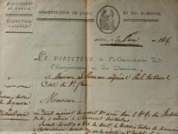 AURILLAC 1806 NOUVEAUX TIMBRES DE DIMENSION AU PROCUREUR DE SAINT FLOUR LETTRE MANUSCRITE - Documents Historiques