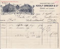RN ZH ZÜRICH 1906-9-7 Adolf Grieder & Co Seidenstoff-Fabrik-Union - Suisse