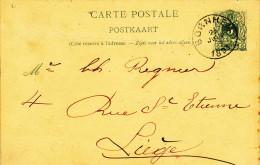 Entier Postal Lion Couché BORNHEM 1893 Vers LIEGE -  Cachet Privé Florent Peeters , Toiles Et Sacs  -- 21/192 - Postcards [1871-09]