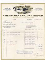 RN ZH RICHTERSWIL 1923-4-23 A. Rebsamen & Cie Teigwaren & Paniermhl Fabrik - Suisse