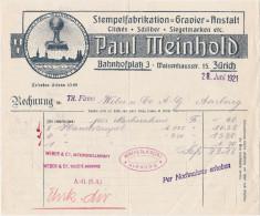 RN ZH ZÜRICH 1921-6-28 Paul Meinhold Stempel Gravier Anstalt - Suisse
