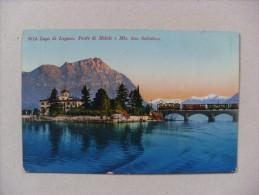 Cartolina Lago Di Lugano. Ponte Di Melide E Monte San Salvatore (treno) 1937 - TI Ticino
