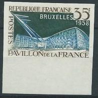 1958 FRANCIA ESPOSIZIONE BRUXELLES VARIETà NON DENTELLATO MNH ** - EDF137 - Variétés Et Curiosités