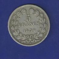 Rare Piece De 5F IIeme Type Domard Louis Philippe 1er De 1834 D ( Lyon ) - France