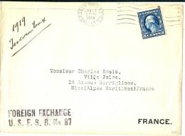 LBL26C - ETATS UNIS LETTRE NEW YORK / NICE 21/1/1919 CONTRÔLE DES CHANGES - Etats-Unis