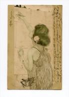 !!! CPA SIGNEE KIRCHNER ART NOUVEAU FEMME ECRITE - Kirchner, Raphael