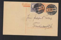 DR GA Antwortteil Gemania 7 1/2 Pf. Mit ZD Und ZF Ottendorf 1920 Nach Frankenberg - Briefe U. Dokumente