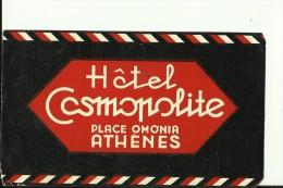 HOTEL LABEL   ---   ATHENES, OMONIA,  GREECE  --  HOTEL COSMOPOLITE - Hotelaufkleber