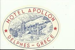 HOTEL LABEL   ---    DELPHES, GREECE  --  HOTEL  APOLLON - Hotelaufkleber