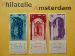 Israel 1953,  HOLY SHRINES: Mi 89-91, ** - Israël